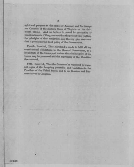 Maryland Legislature, December 1861  (Printed Resolutions)