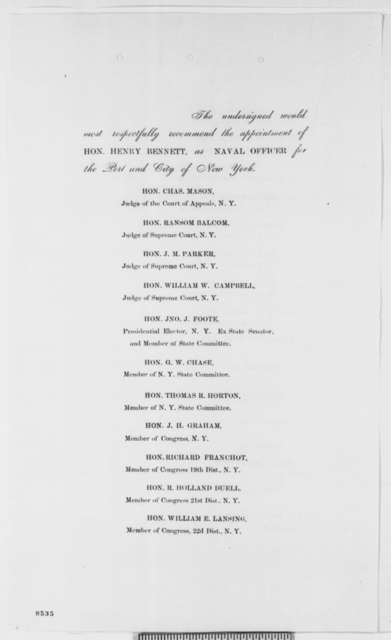 Members of New York Legislature and other prominent citizens to Abraham Lincoln, March 1861  (Petition recommending Henry Bennett)