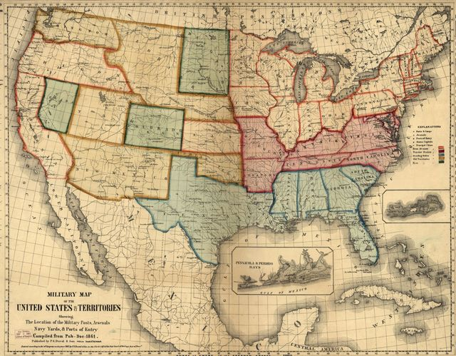 Military map of the United States & territories showing the location of the military posts, arsenals, Navy Yards, & ports of entry. Compiled from pub-doc--1861.