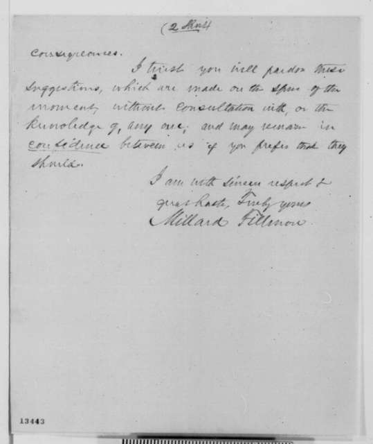 Millard Fillmore to Abraham Lincoln, Monday, December 16, 1861  (Trent Affair)