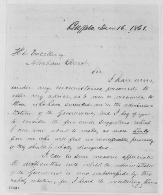 Millard Fillmore to Abraham Lincoln, Monday, December 16, 1861  (Trent Affair)