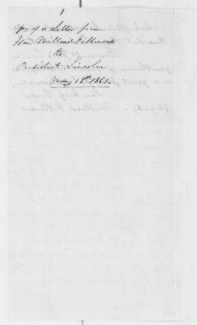 Millard Fillmore to Abraham Lincoln, Saturday, May 18, 1861  (Introduction)