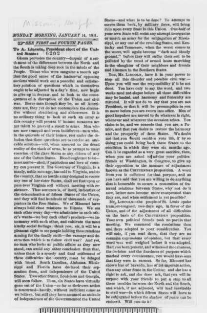 Missouri Newspaper, Monday, January 14, 1861  (Clipping)