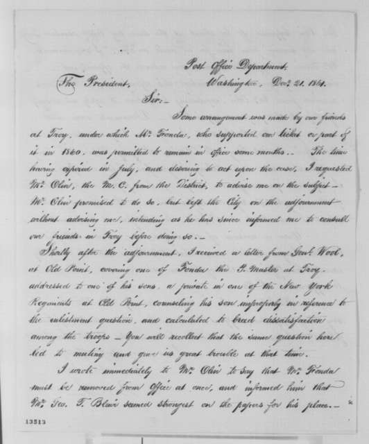 Montgomery Blair to Abraham Lincoln, Saturday, December 21, 1861  (Removal of an office holder)