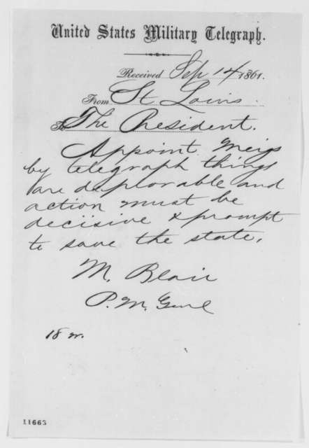 Montgomery Blair to Abraham Lincoln, Saturday, September 14, 1861  (Telegram urging appointment of Meigs)