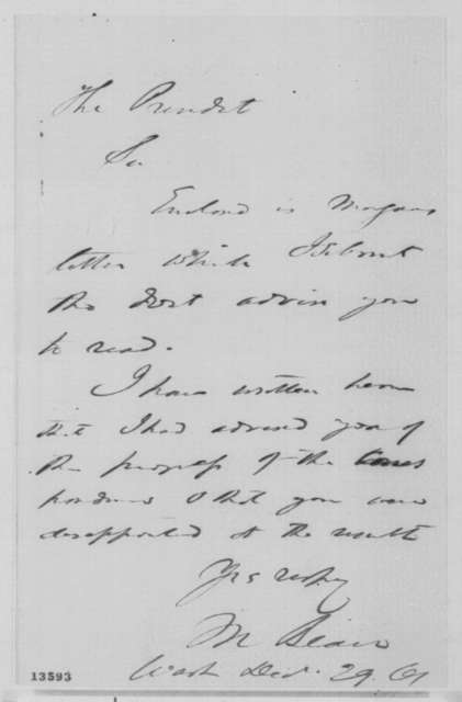 Montgomery Blair to Abraham Lincoln, Sunday, December 29, 1861  (Cover letter)