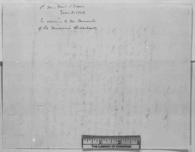 Montgomery Blair to Abraham Lincoln, Tuesday, November 05, 1861  (Command in Dept. of Missouri)