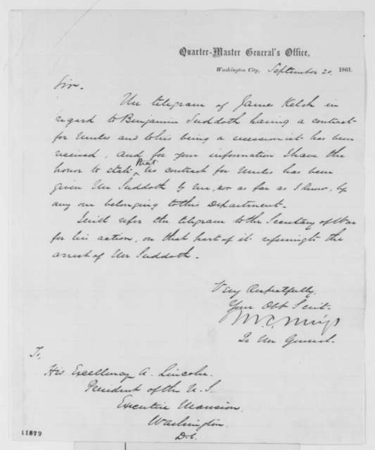 Montgomery C. Meigs to Abraham Lincoln, Friday, September 20, 1861  (Mule contract)