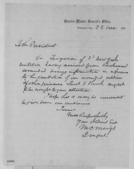 Montgomery C. Meigs to Abraham Lincoln, Monday, November 25, 1861  (Introduction)