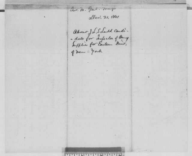 Montgomery C. Meigs to Abraham Lincoln, Saturday, December 21, 1861  (Military appointment)