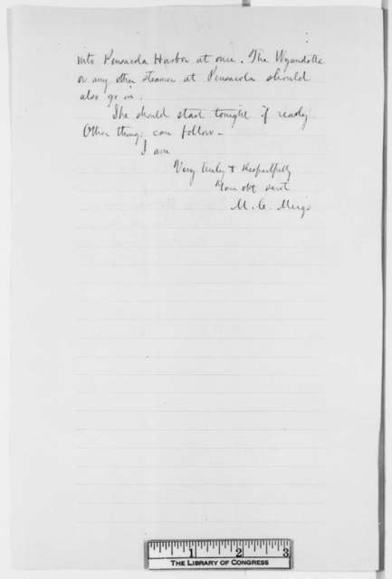 Montgomery C. Meigs to William H. Seward, Monday, April 01, 1861  (Situation at Fort Pickens)