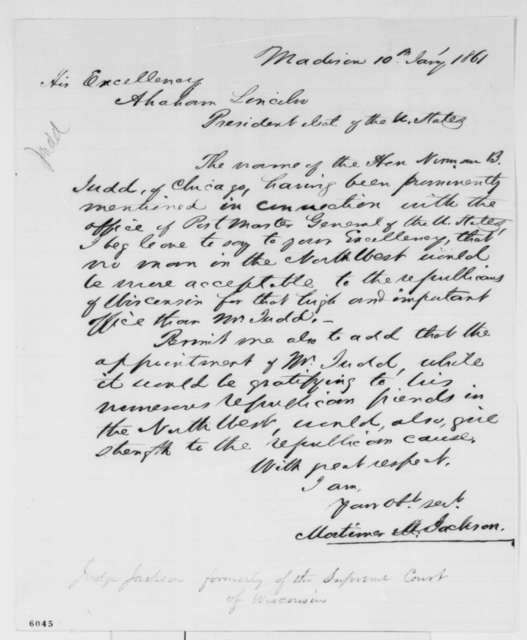 Mortimer M. Jackson to Abraham Lincoln, Thursday, January 10, 1861  (Supports Judd for cabinet)