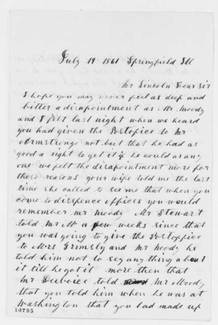 Mrs. Seymour B. Moody to Abraham Lincoln, Friday, July 19, 1861  (Springfield, Illinois post office)