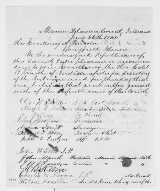 Muncie Indiana Republicans to Abraham Lincoln, Saturday, January 26, 1861  (Petition recommending Caleb Smith for cabinet)