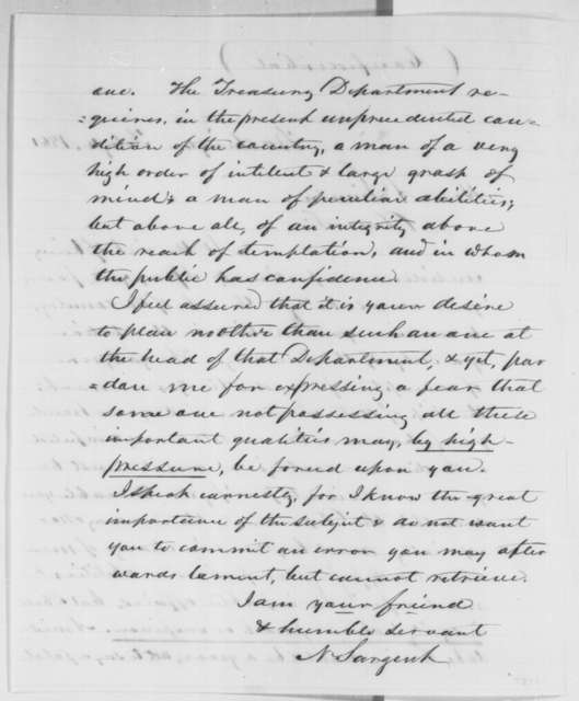 Nathan Sargent to Abraham Lincoln, Monday, February 04, 1861  (Cabinet advice)