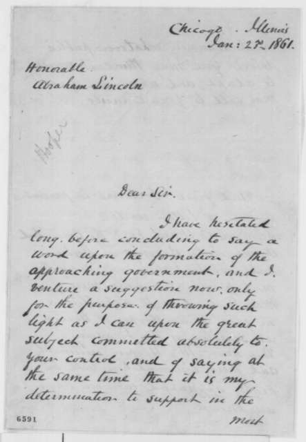 Nathaniel P. Banks to Abraham Lincoln, Wednesday, January 23, 1861  (Cabinet recommendations)