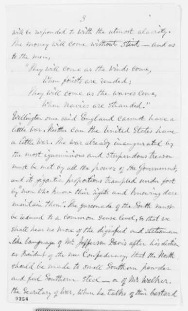 Nathaniel P. Tallmadge to Abraham Lincoln, Monday, April 22, 1861  (Support)