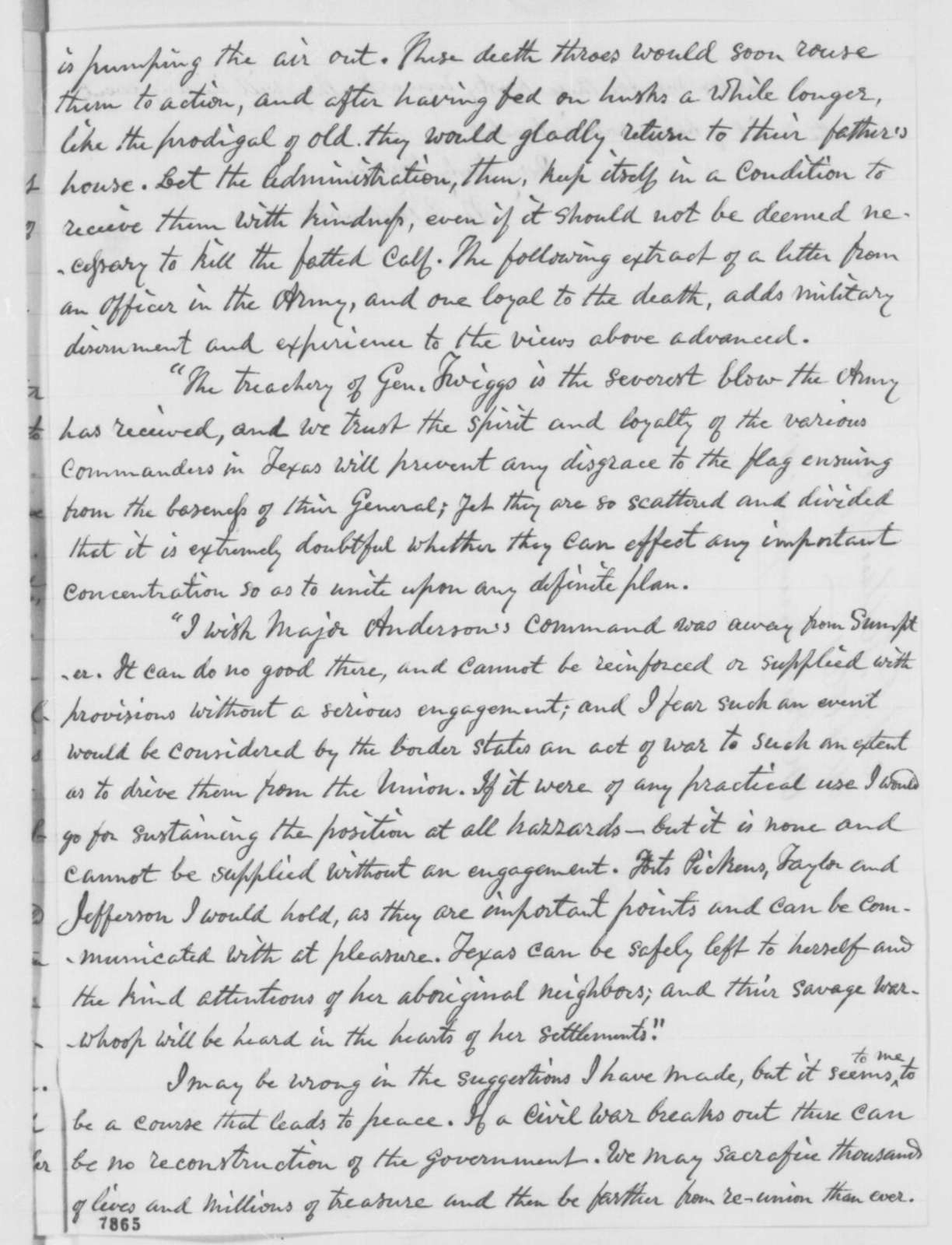 Nathaniel P. Tallmadge to William H. Seward, Thursday, March 07, 1861  (Secession Crisis)