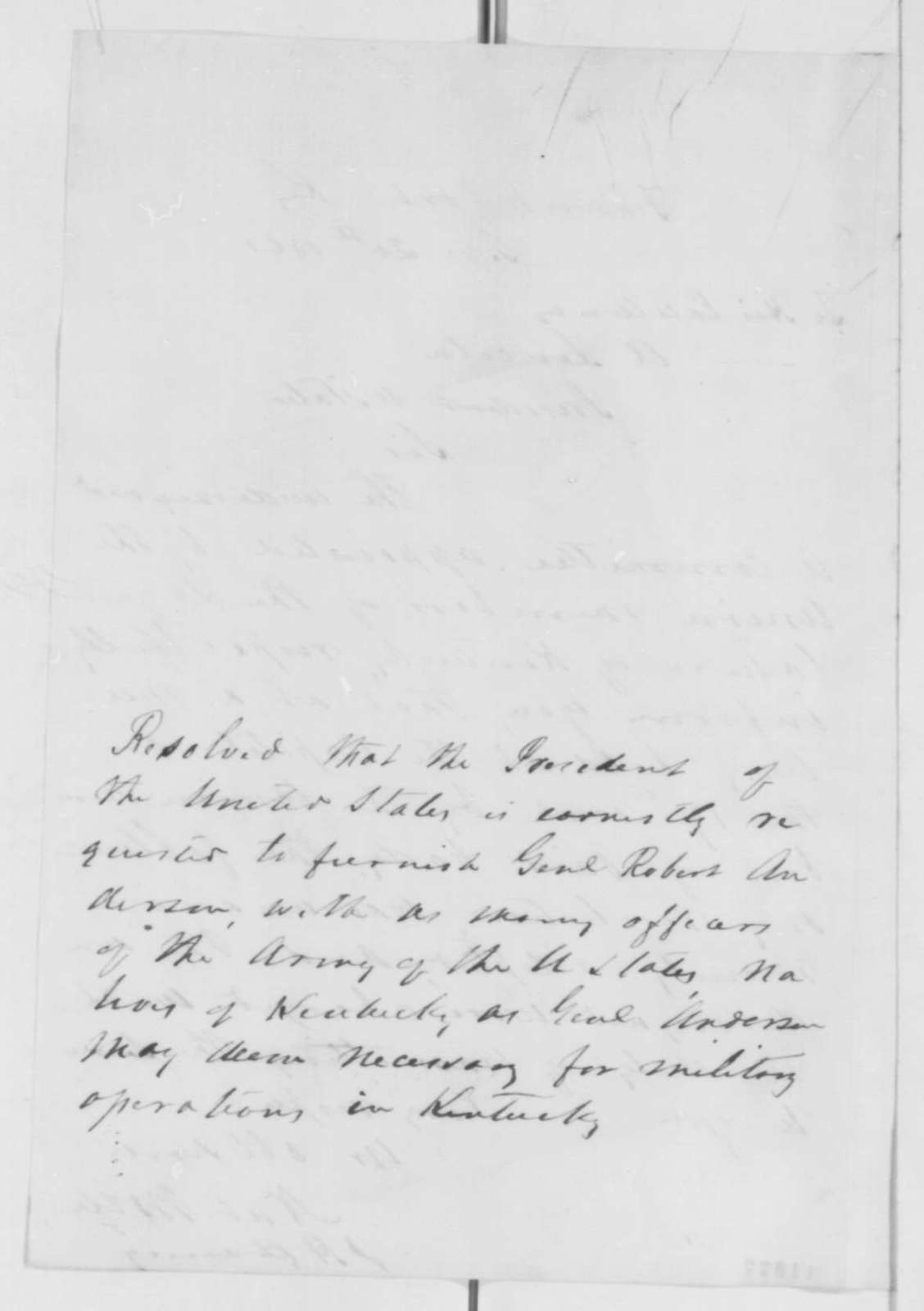Nathaniel Wolfe and J.H. Harney to Abraham Lincoln, Friday, September 20, 1861  (Resolution from Kentucky legislature requesting army officers)