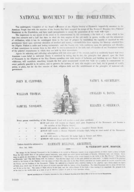 National Monument to the Forefathers, Monday, April 15, 1861  (Printed Circular)
