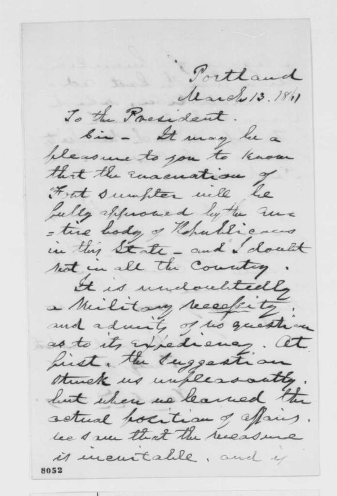 Neal Dow to Abraham Lincoln, Wednesday, March 13, 1861  (Evacuation of Fort Sumter)