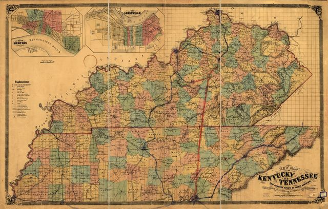 New map of Kentucky and Tennessee from authentic reports of county surveyors throughout the states of Kentucky and Tennessee with a new key for measuring distances and specifying localities (which key is secured by copyright.).