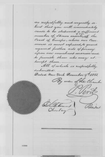 New York Chamber of Commerce to Abraham Lincoln, Tuesday, December 10, 1861  (Petition regarding military affairs at sea)