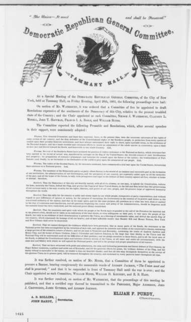 New York City Democratic Republican Committee, Friday, April 26, 1861  (Printed Resolution)