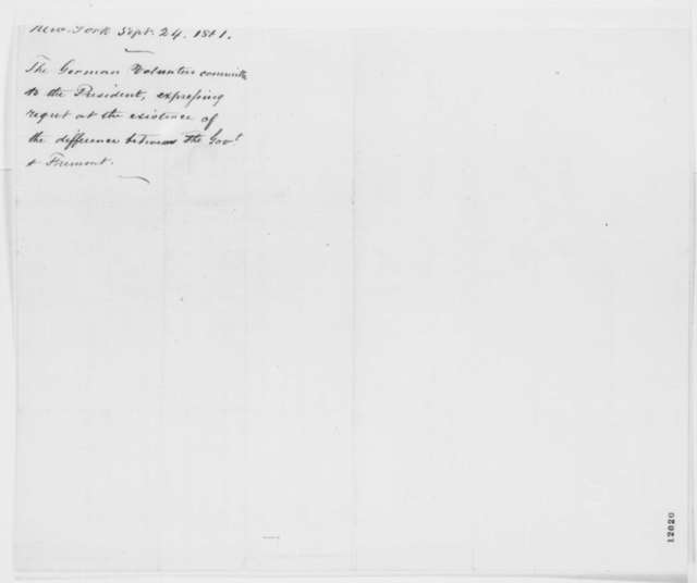 New York City German Volunteers Committee to Abraham Lincoln, Tuesday, September 24, 1861  (Support Fremont)
