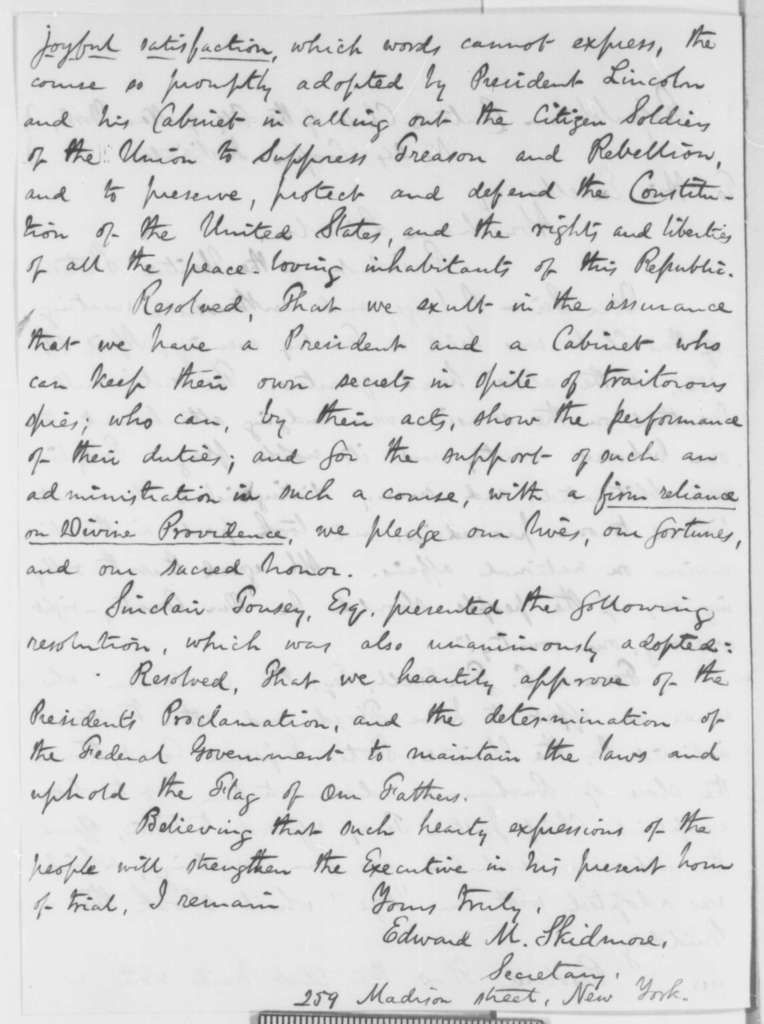 New York City Republicans Central Club to Abraham Lincoln, Tuesday, April 16, 1861  (Resolutions of support)