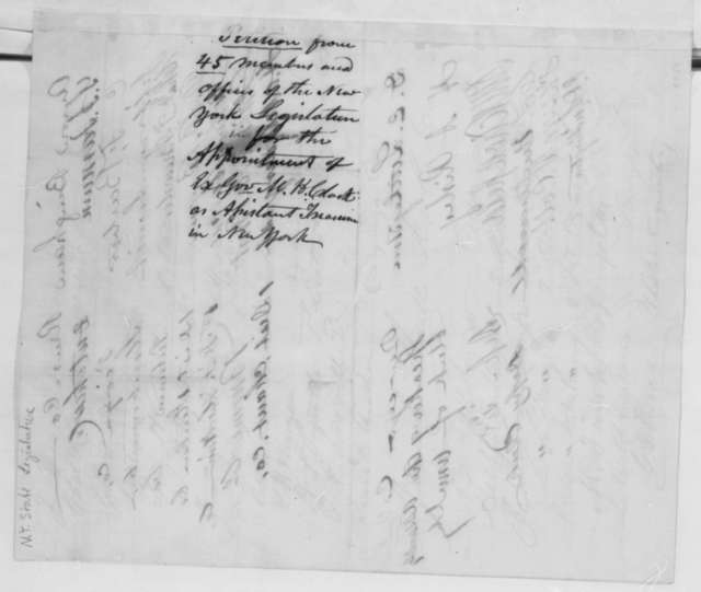 New York Legislature to Abraham Lincoln, Friday, March 22, 1861  (Petition and Memo recommending appointment)