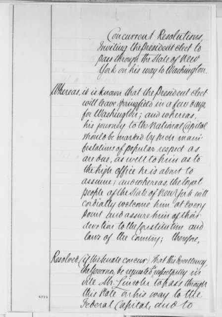 New York Legislature to Abraham Lincoln, Saturday, January 26, 1861  (Resolution inviting Lincoln to visit on his trip to Washington)