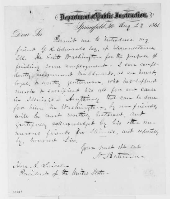 Newton Bateman to Abraham Lincoln, Tuesday, August 27, 1861  (Introduction)