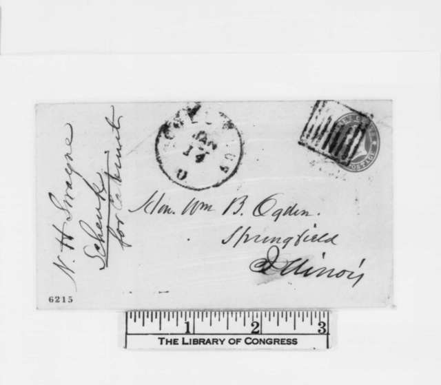 Noah H. Swayne to William B. Ogden, Monday, January 14, 1861  (Recommends Robert C. Schenk for cabinet)