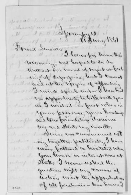Norman B. Judd to Abraham Lincoln, Friday, January 11, 1861  (Patronage advice)