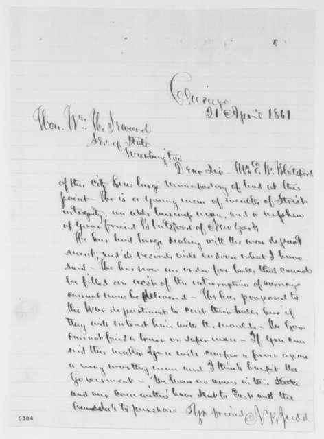 Norman B. Judd to William H. Seward, Sunday, April 21, 1861  (Recommendation)