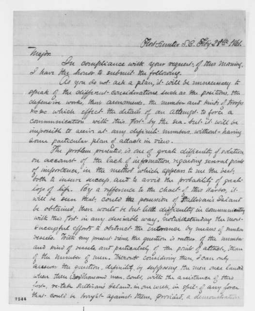 Norman J. Hall to Robert Anderson, Thursday, February 28, 1861  (Reinforcement of Fort Sumter)