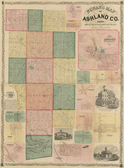 Nunan's map of Ashland Co., Ohio : showing the sections, farms, lots, & villages /