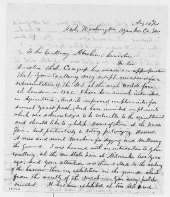 O. Coe to Abraham Lincoln, Tuesday, August 13, 1861  (Wants to attend World's Fair in London)