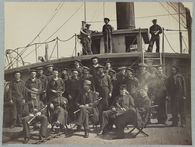 Officers and crew on deck of gunboat Agawam, James River, Va.