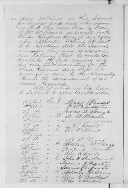 Officers of 2nd Maryland Regiment to Simon Cameron, Wednesday, August 28, 1861  (Petition requesting removal of officer; endorsed by Lorenzo Thomas to Lincoln, Sept. 11, 1861)