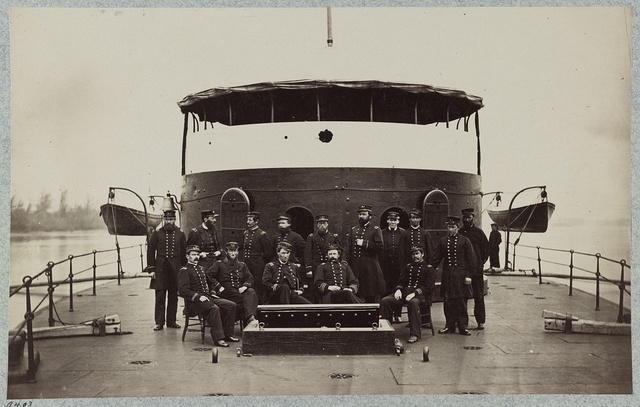 Officers on deck of monitor Mahopac, James River, Virginia