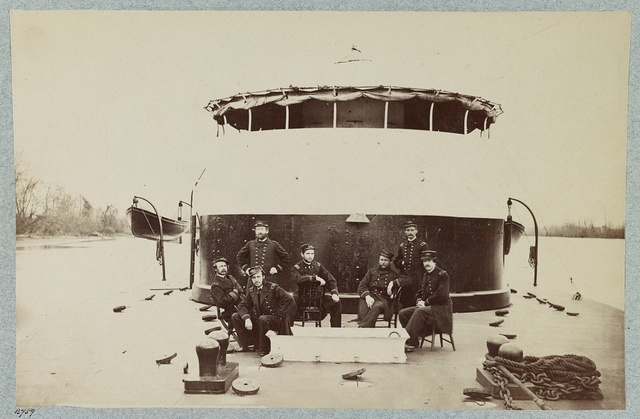Officers on deck of the monitor Saugus, James River, Va.