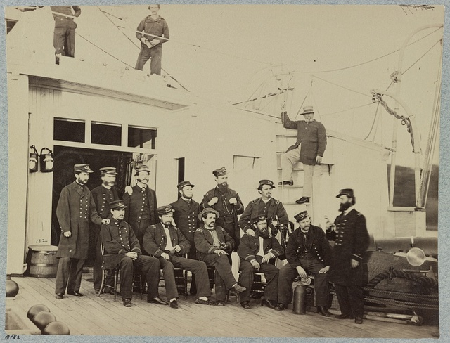 Officers on deck of U.S. gunboat Commodore Barney