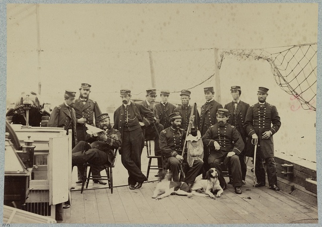 Officers on deck of U.S. gunboat Miami