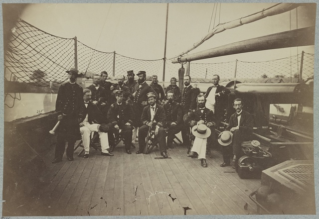 Officers on deck of U.S.S. Mendota, James River, Va.