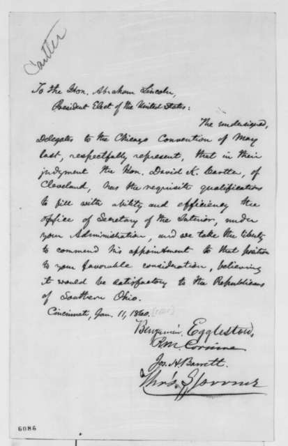 Ohio Delegates Chicago Convention to Abraham Lincoln, Friday, January 11, 1861  (Petition recommending David K. Cartter for cabinet)