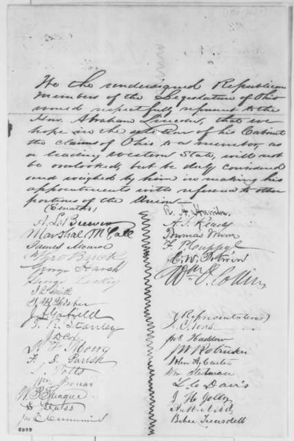 Ohio Legislature Republicans to Abraham Lincoln, January 1861  (Petition requesting cabinet appointment for Ohio)