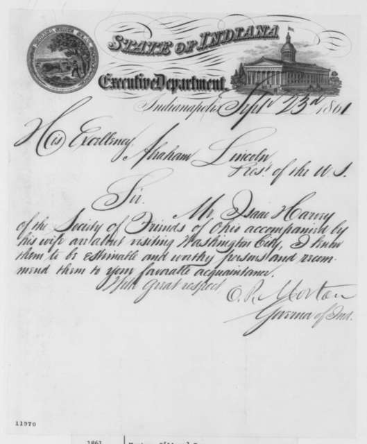 Oliver P. Morton to Abraham Lincoln, Monday, September 23, 1861  (Introduction)