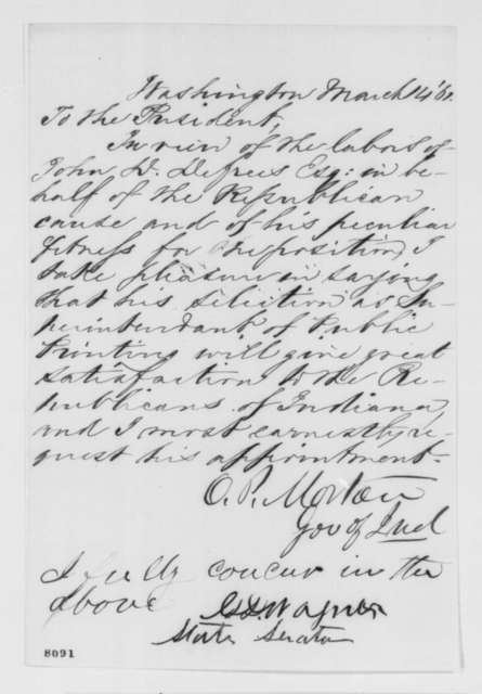 Oliver P. Morton to Abraham Lincoln, Thursday, March 14, 1861  (Recommendation for John Defrees)